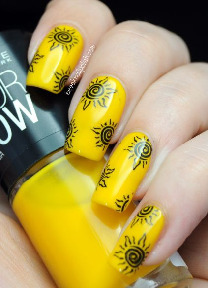 Sun Nail Art Design Cool Girlie Stuff Pinterest Yellow