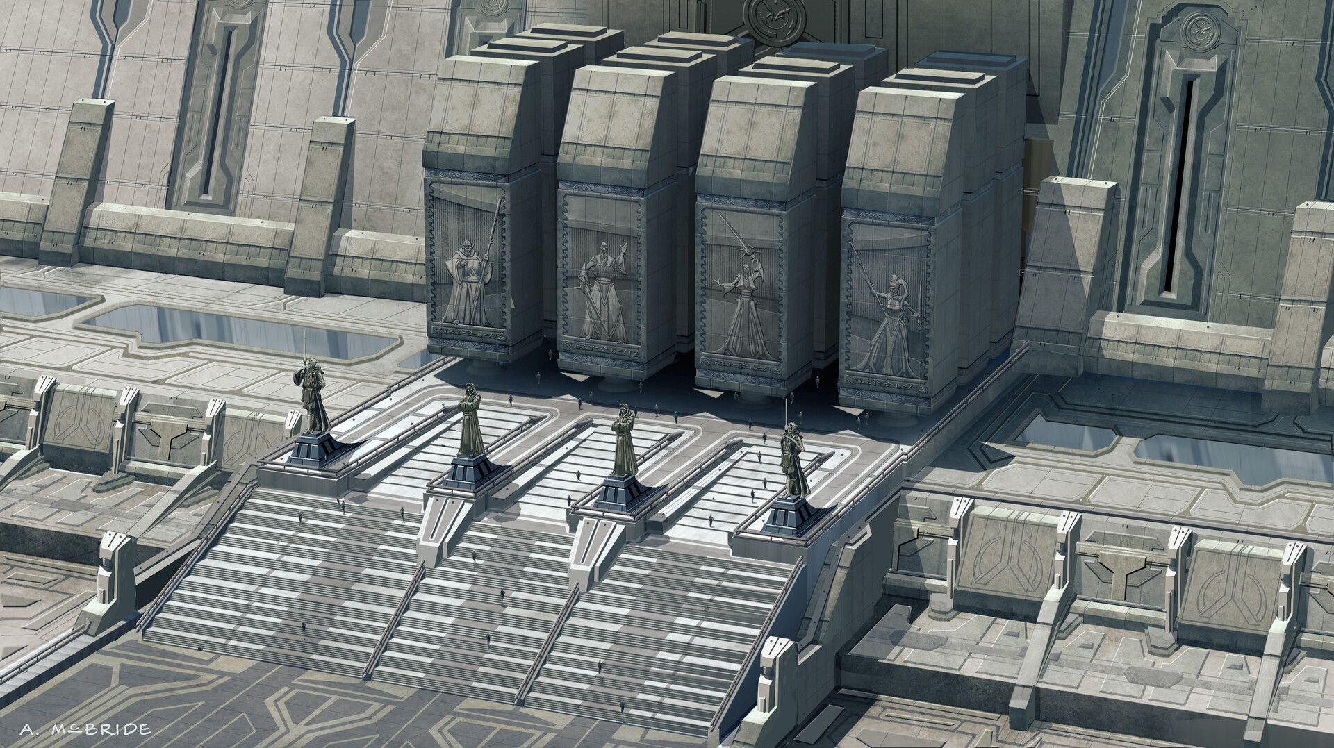 Star Wars Revenge Of The Sith Jedi Temple Ground Entrance Concept By Aaron Mcbride Star Wars Concept Art Star Wars Characters Pictures Star Wars