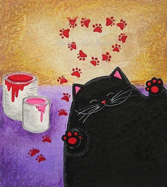 может картинки доброе утро с черной кошкой можно
