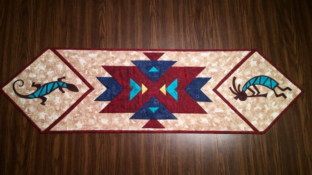 (7) Name: U0027Quilting : Southwest Kokopelli Table Runner Pattern