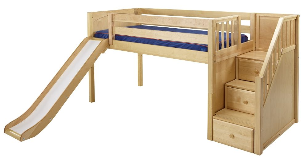 Toddler Bed With Stairs.Maxtrix Low Loft Bed W Staircase On End Slide Low Loft