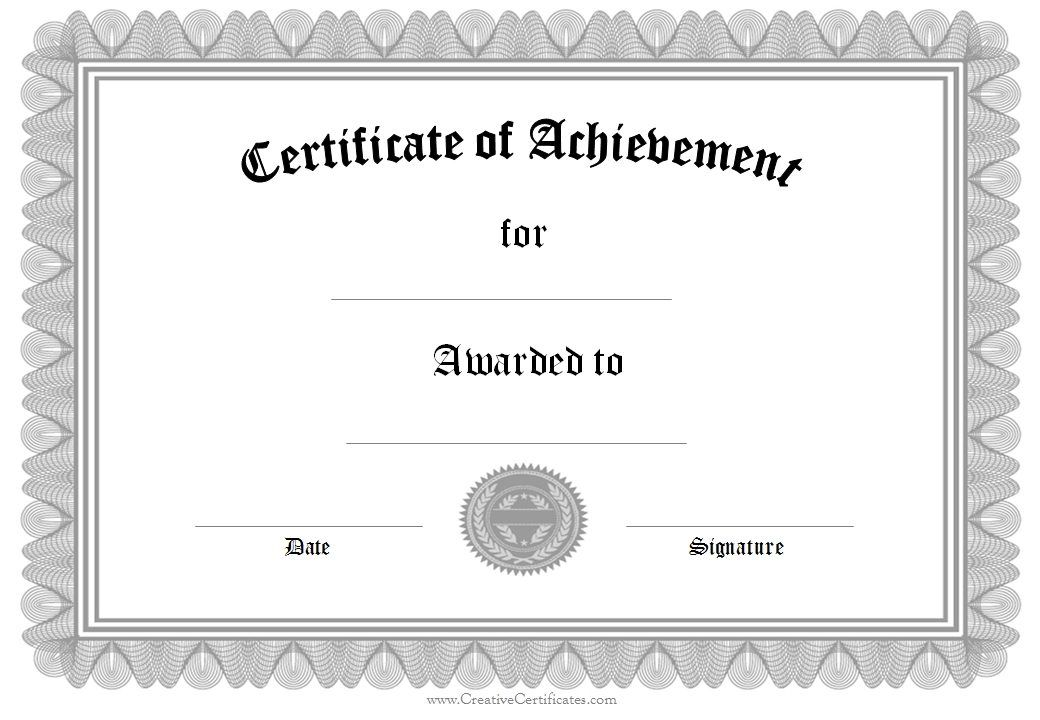 certificate of achievement certificates pinterest award