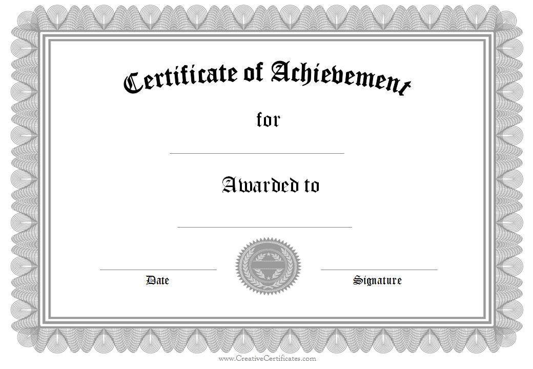 certificate of achievement certificates Pinterest Certificate
