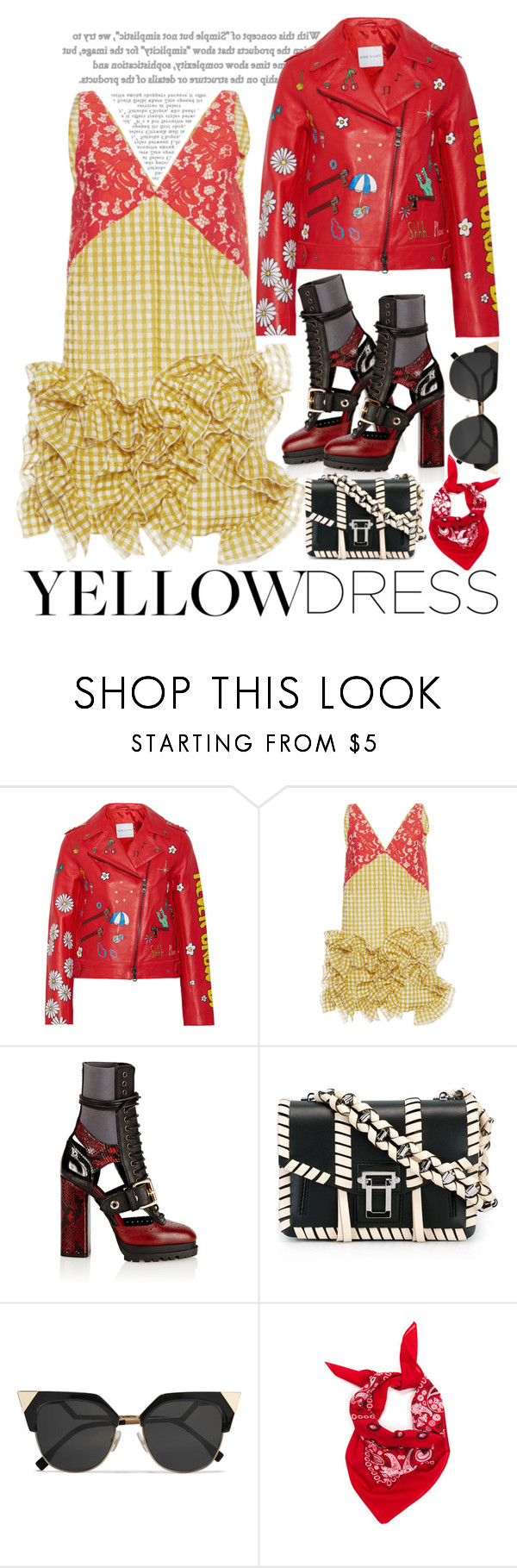 """""""MSGM Yellow Gingham Sleeveless Dress"""" by esterp ❤ liked on Polyvore featuring Mira Mikati, MSGM, Burberry, Proenza Schouler and Fendi"""