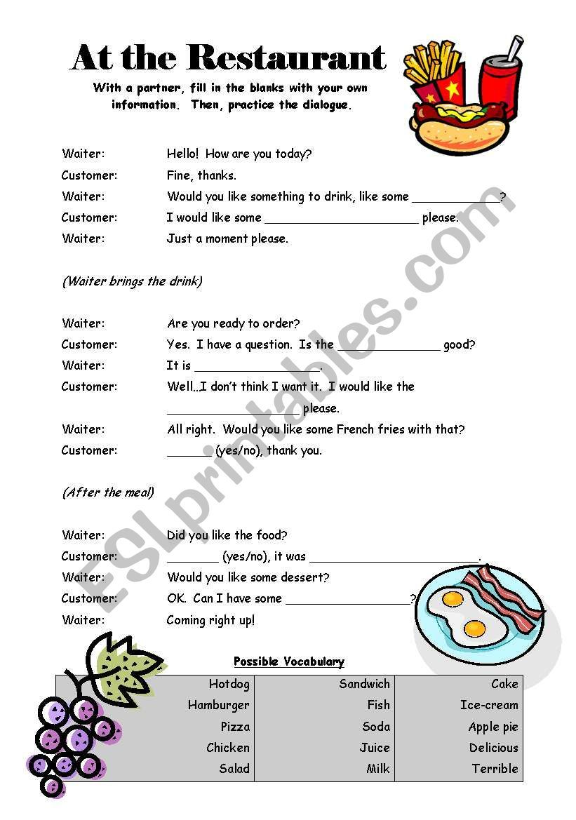At The Restaurant Dialogue Worksheet English Worksheets For Kids Word Puzzles For Kids English Lessons For Kids [ 1169 x 821 Pixel ]