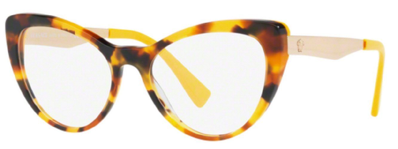 00204409b0a2 7pm view of Versace Eyeglasses - FUN ABOUT TOWN CAT EYE VE3244 5242 51 TORTOISE  HAVANA YELLOW CLEAR DEMO LENS Women's Full Rim Butterfly