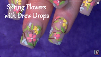 ~`Spring flowers with dew drops nail art tutorial~~