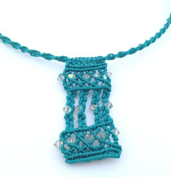 Choker necklace macrame Swarovsky Crystal knotted di morenamacrame