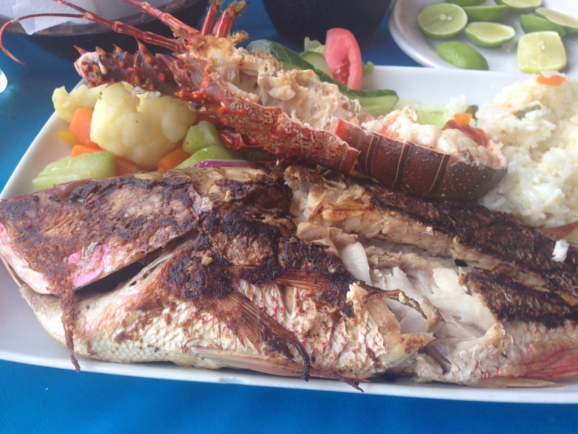 Our favorite restaurant in Bucerias. Dugarel!  Red snapper and spiny lobster.