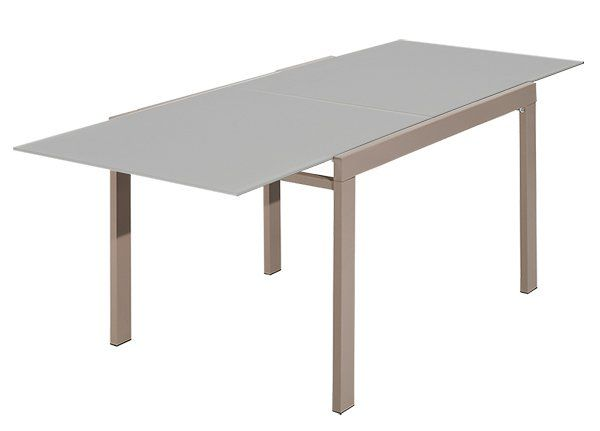 GALAXY table repas extensible rectangulaire verre taupe Mobilier - Hauteur Table Salle A Manger