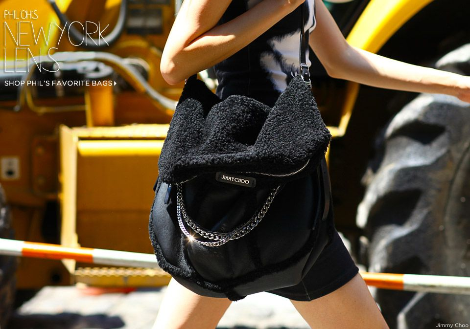 Out and about with Jimmy Choo's Biker Shearling Shoulder Bag
