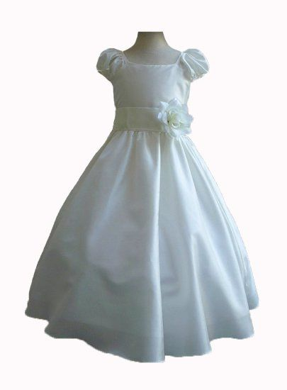 Amazon.com: Classykidzshop Ivory Taffetta Wedding Flower Girl Dress with Colorful Sash: Clothing
