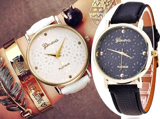 Zegarek Geneva Azurowe Kwiaty Koronka Boho Fashion Accessories Jaeger Watch