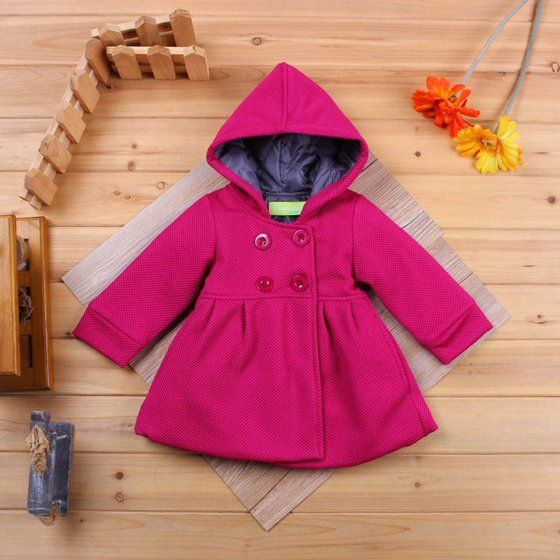 333710402 New Baby Toddler Girl Autumn Winter Horn Button Hooded Pea Coat ...