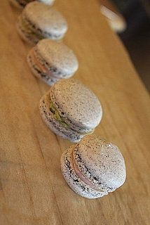 Black Sesame Macarons with Pink Vanilla Buttercream Filling Recipe
