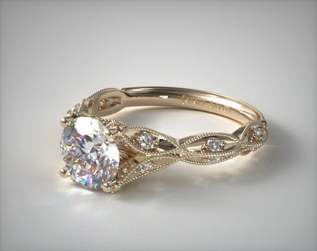 engagement rings, vintage, 18k yellow gold milgrain navette