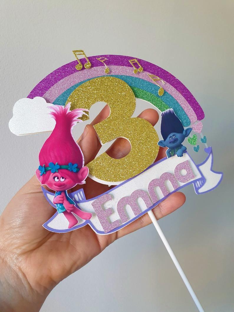 TROLLS Cartoon Movie Characters Printed Cake Craft Hair Bow Grosgrain Ribbon UK