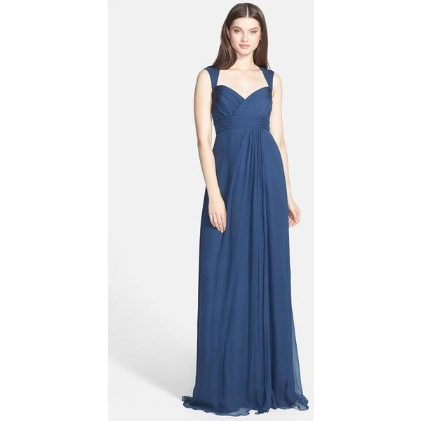 Women\'s Amsale Crinkled Silk Chiffon Gown (€180) ❤ liked on ...