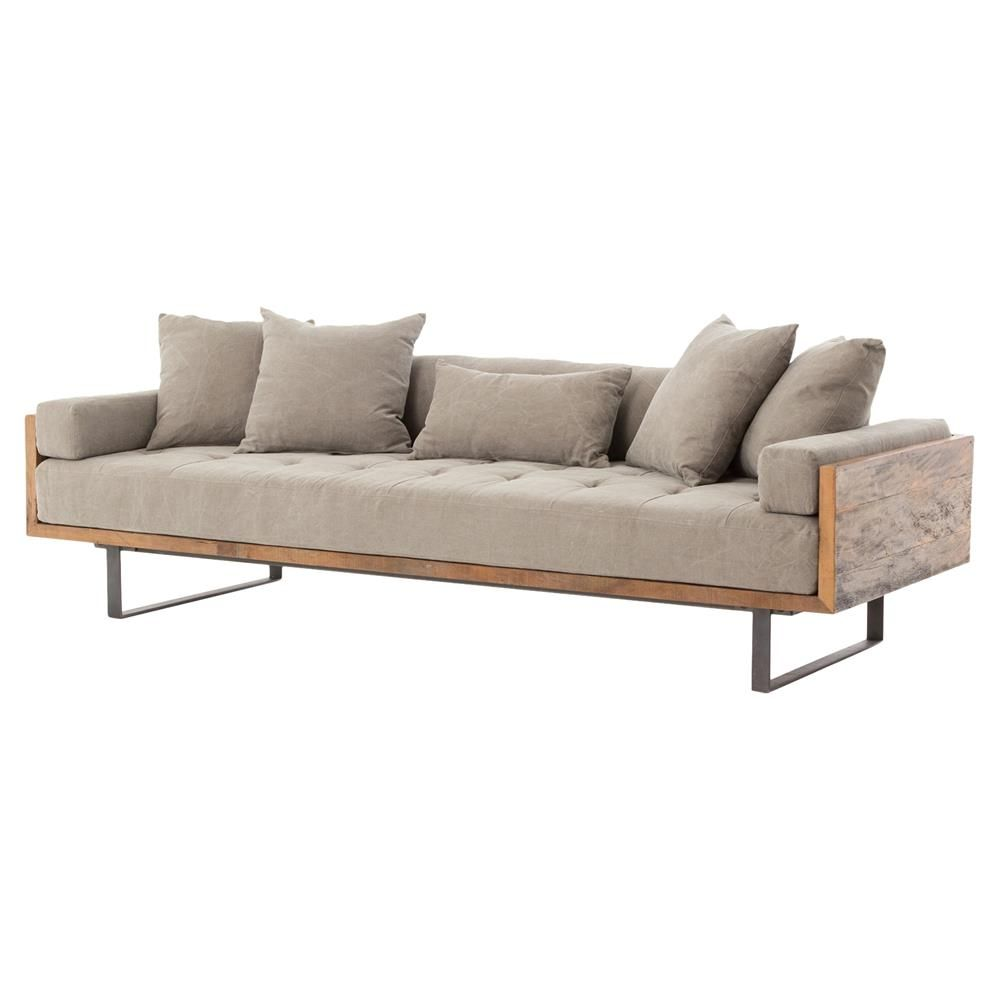 Lloyd Industrial Lodge Taupe Tufted Cushion Wood Frame Sofa ...