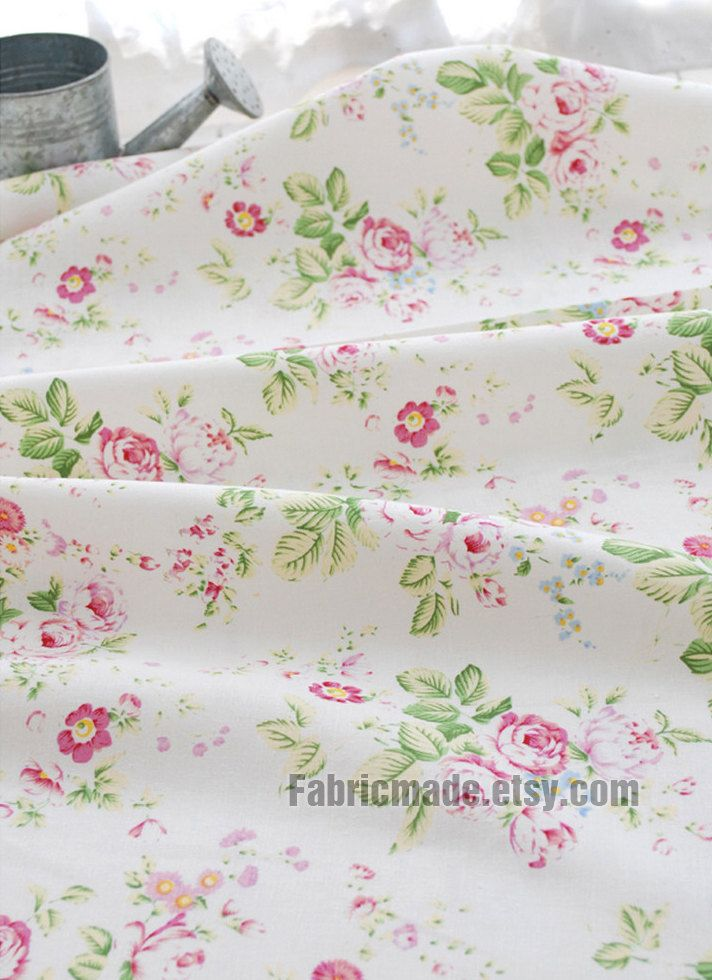 Pink China Rose Japanese Fabric Shabby Chic White Cotton Linen With Flower 1 2 Yard 18X45