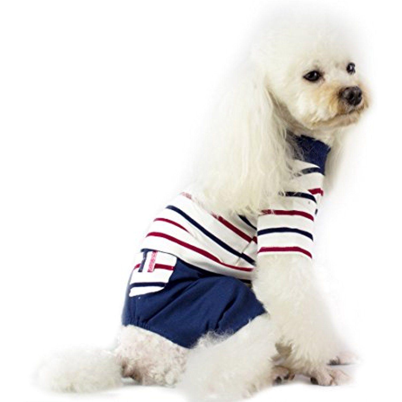 a1f39503261e Casual Striped Pet Puppy Cloth Small Dog Cotton Soft Warm Striped Pajamas  Jumpsuit Pet Dog Coat