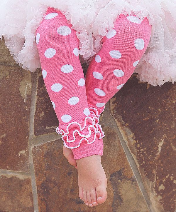 Look at this Pink Polka Dot Ruffle Leg Warmers on #zulily today!