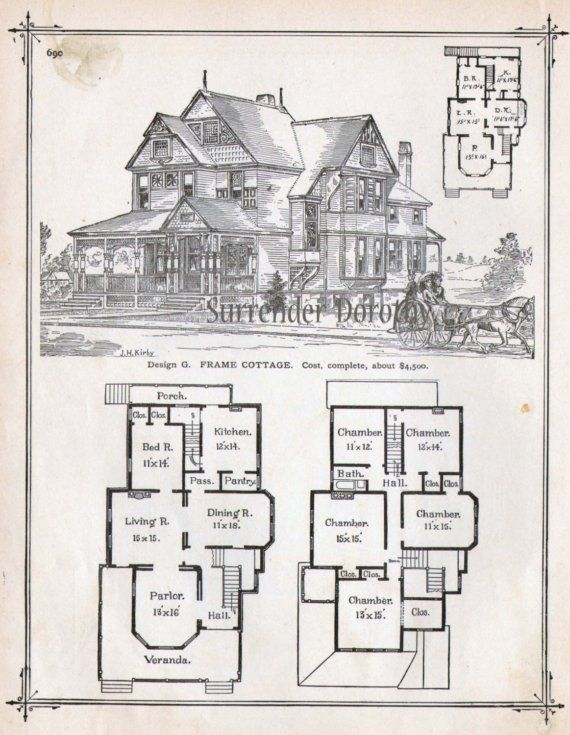 Frame Cottage House Plans 1881 Antique Victorian Architecture Print ...