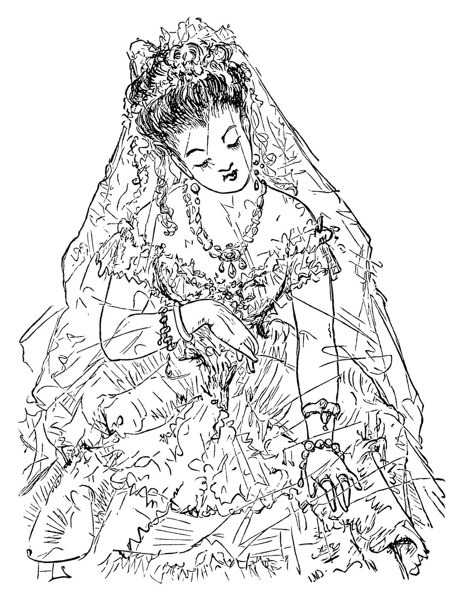 Victorian Bride Clip Art Free Black And White Clipart
