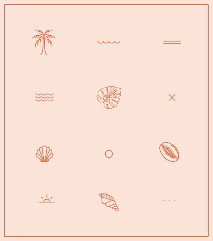 Minimal tropical outlined icon pack designed by The Binding #tropicalpattern