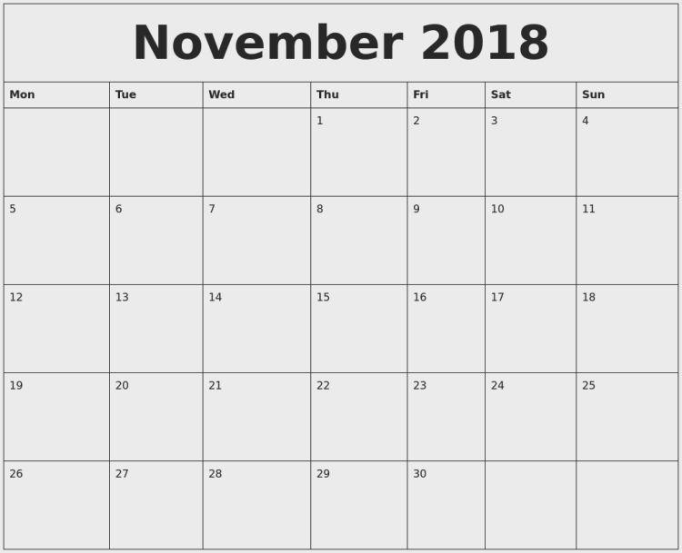 november 2018 2018 calenddar Pinterest November calendar and