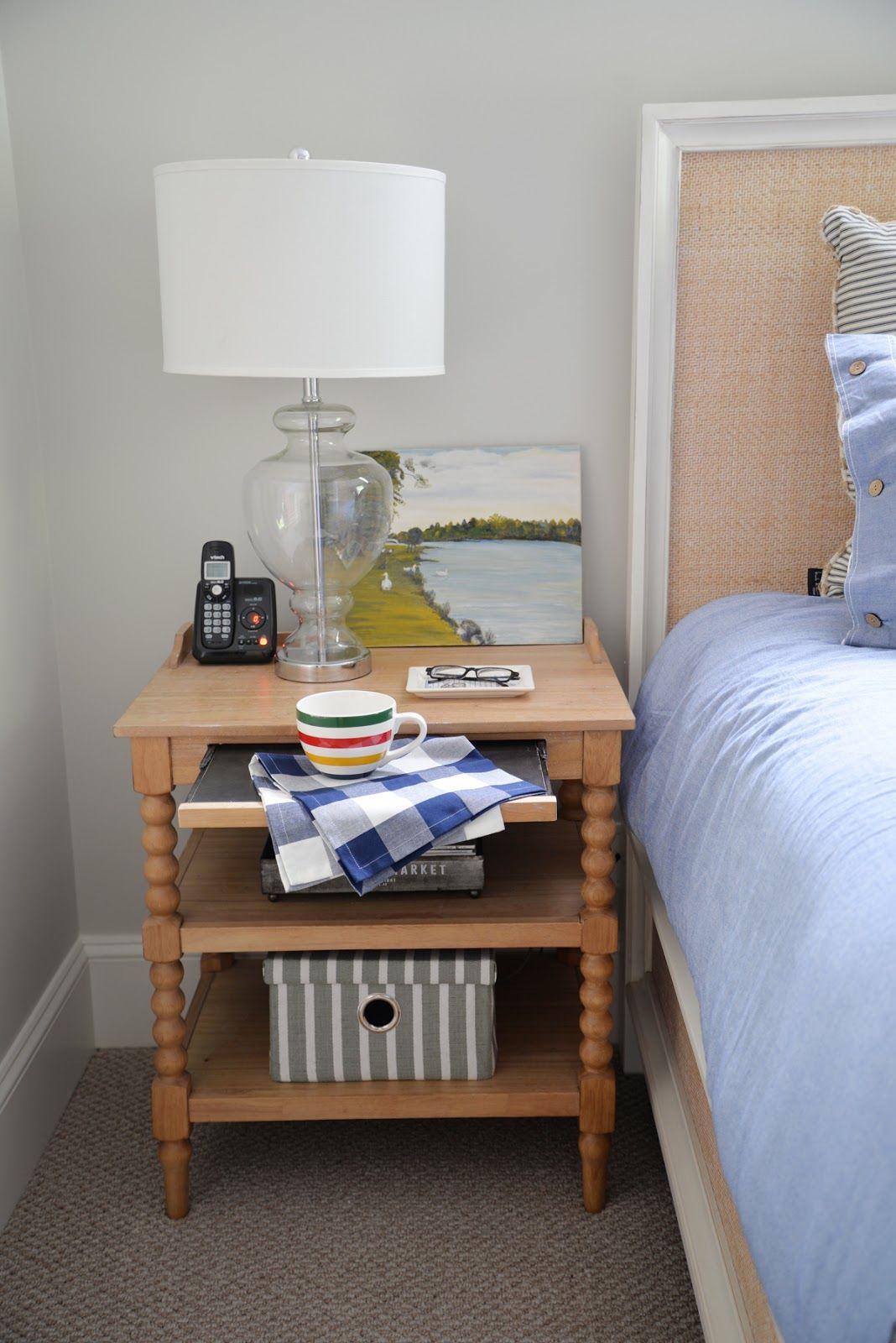 Spool Nightstand, Rattan Headboard, Country Cottage Bedroomu2026