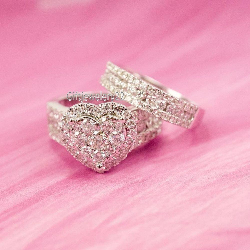 14K White Gold Diamond Heart Engagement Ring Wedding Band Ladies ...