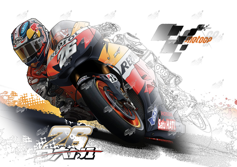Repsol Honda Team Mixed Colors Technical Drawing 26 Dani Pedrosa Print On Canvas In 2020 Technical Drawing Honda Motogp