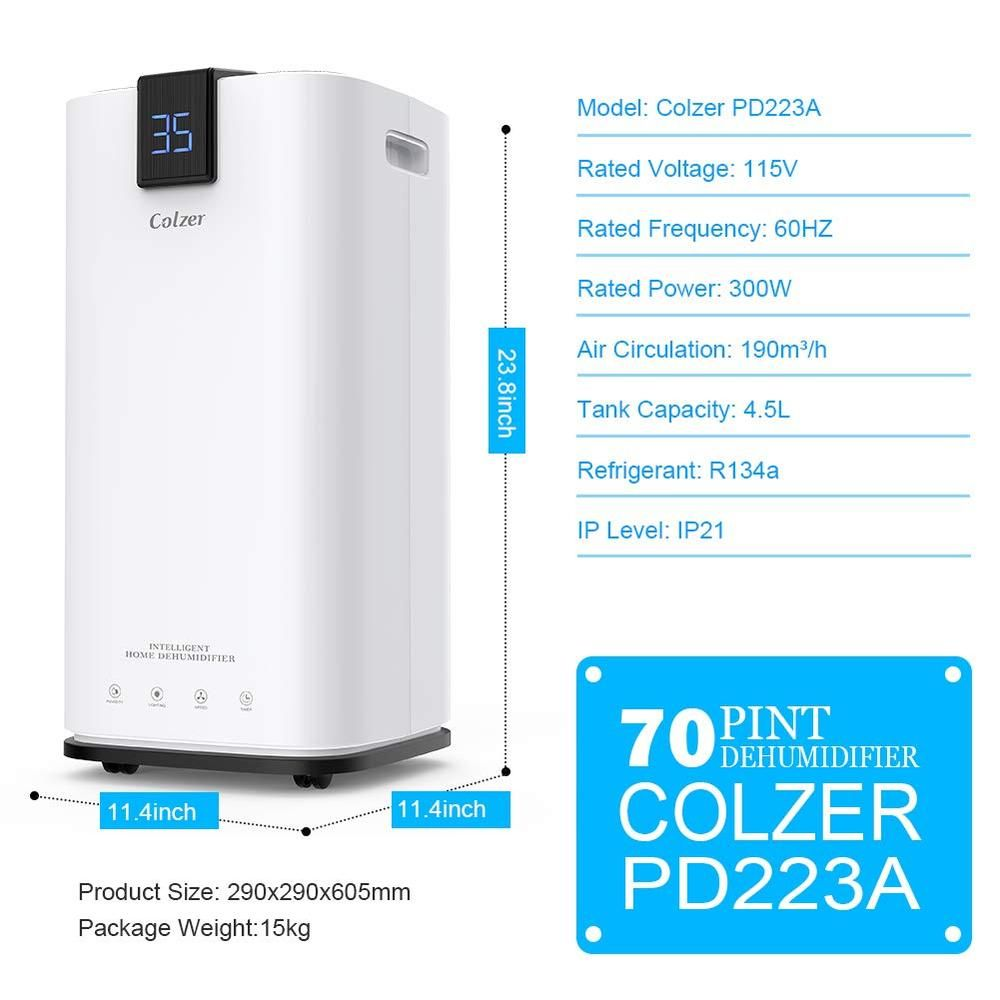 Colzer Quite 70 Pints Portable Dehumidifier For Basement