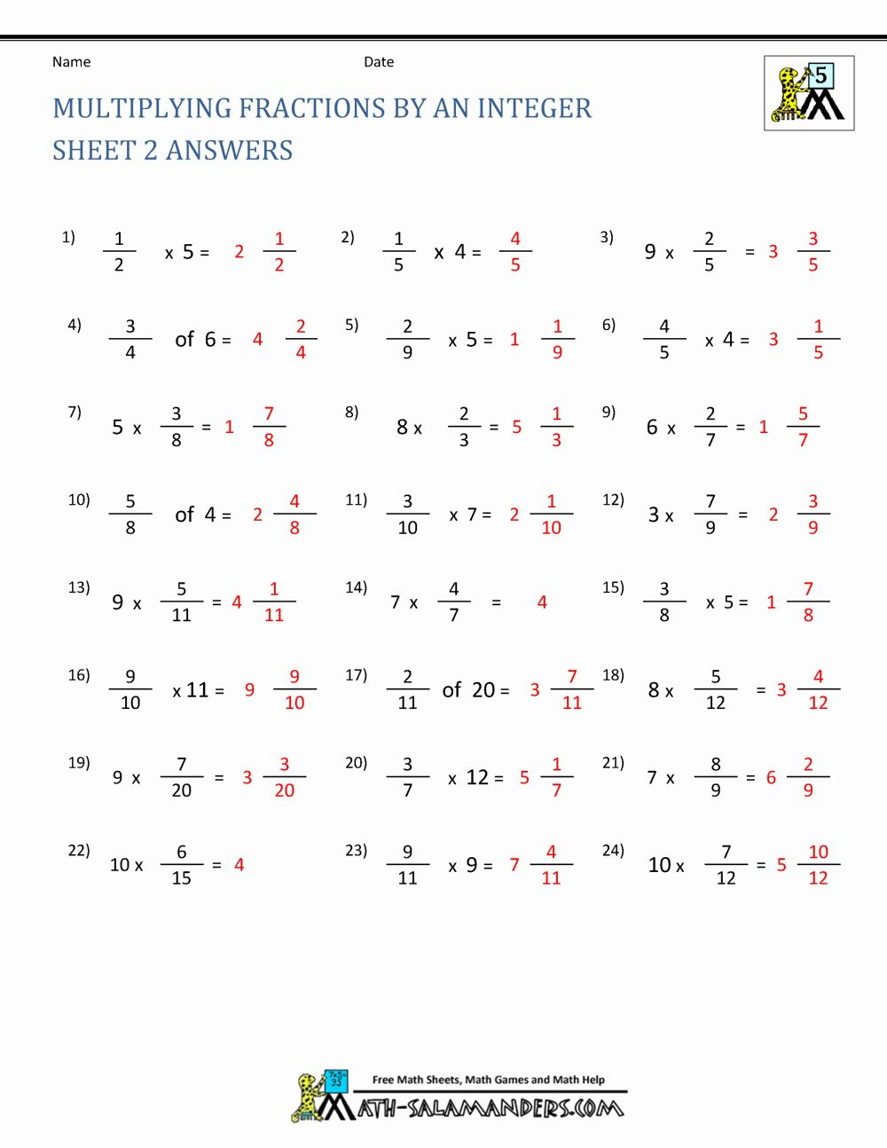 Multiplication Of Integers Worksheet New Multiplying Fractions   Fractions  worksheets [ 1294 x 1000 Pixel ]