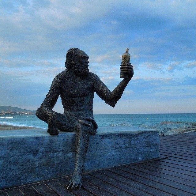 Monkey Sculpture in Badalona