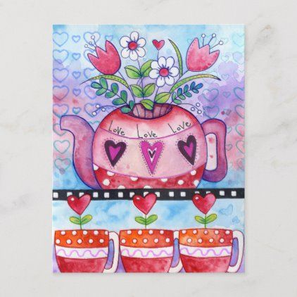 Valentine's Day Tea Pot and Whimsical Hearts Holiday Postcard