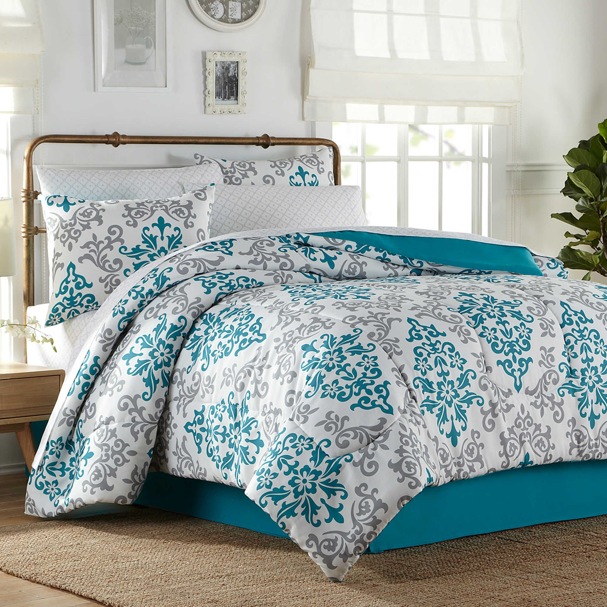 Carina 6 8 Piece Complete Comforter Set In Turquoise For The Home