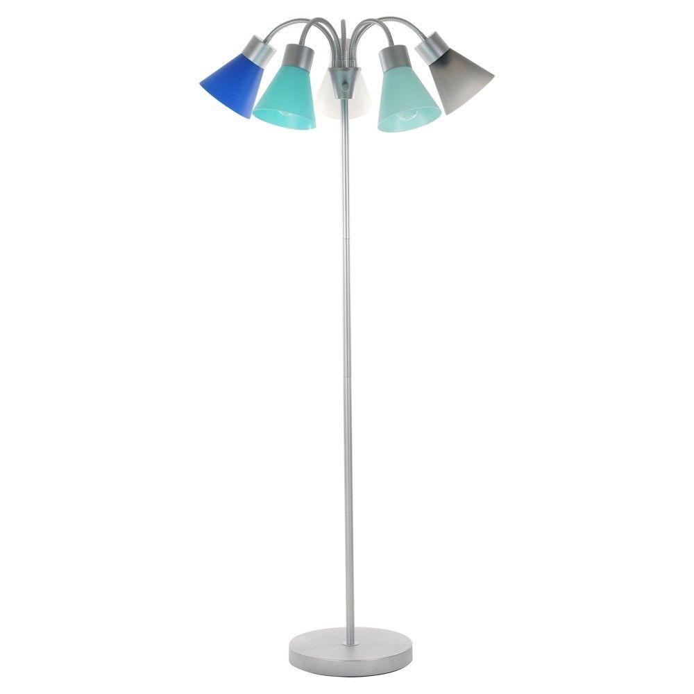 3 Way 5 Head Floor Lamp Blue Includes Energy Efficient Light Bulb