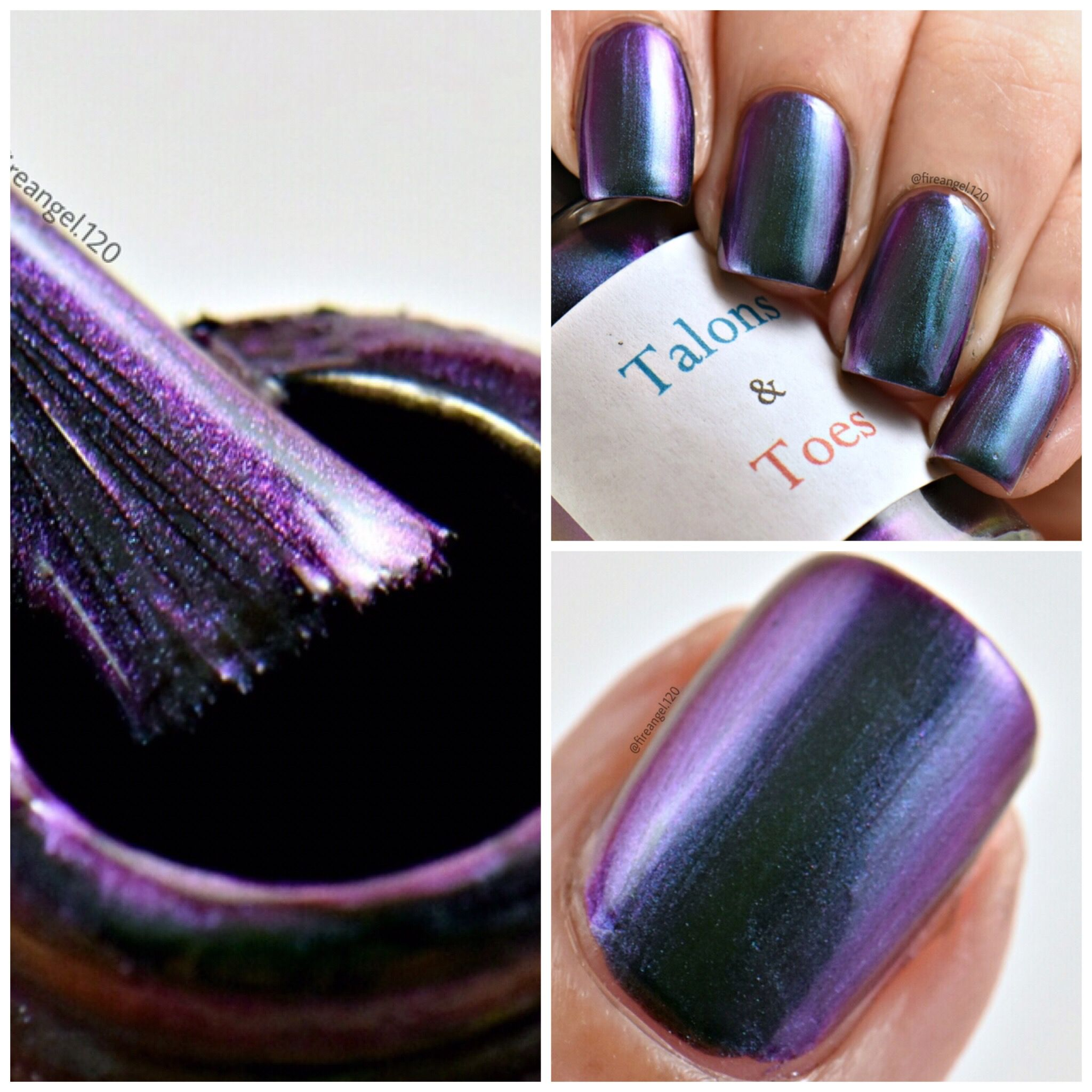 Today's color is Miami Knights. It is a  Strong purple to green duo-chrome nail polish. Dries to a satin finish. Opaque in two thin coats. Glossy topcoat recommended. It is $16 on my etsy shop linked below. Thanks to Ashley from fireangel120 for the beautiful photos!  https://www.etsy.com/listing/491220553/miami-knights?ref=shop_home_active_8
