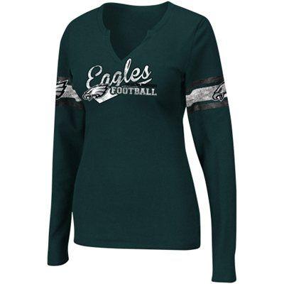 b122ae13 Philadelphia Eagles Ladies Gameday Gal V-Neck Long Sleeve Thermal ...