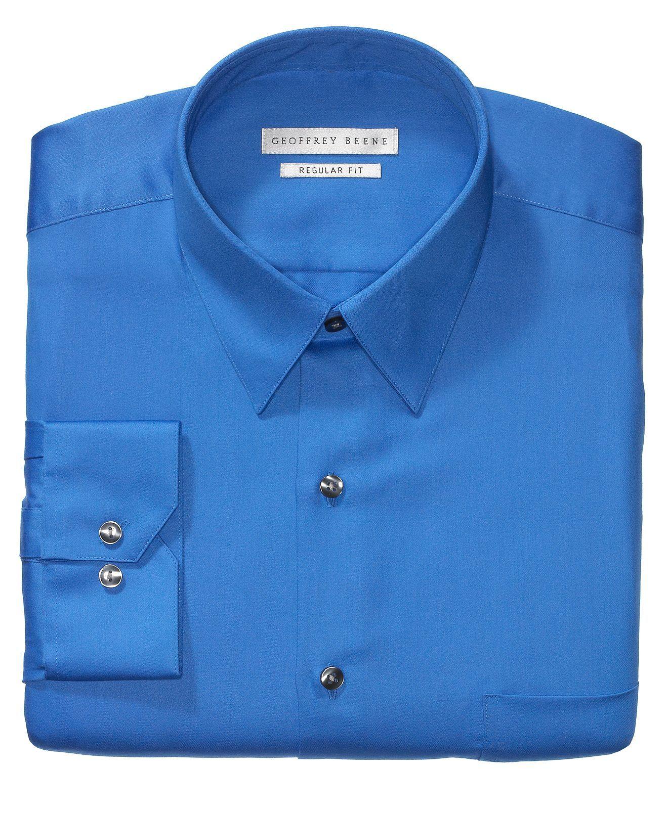 Geoffrey Beene Dress Shirt Sateen Solid Dress Shirts Men