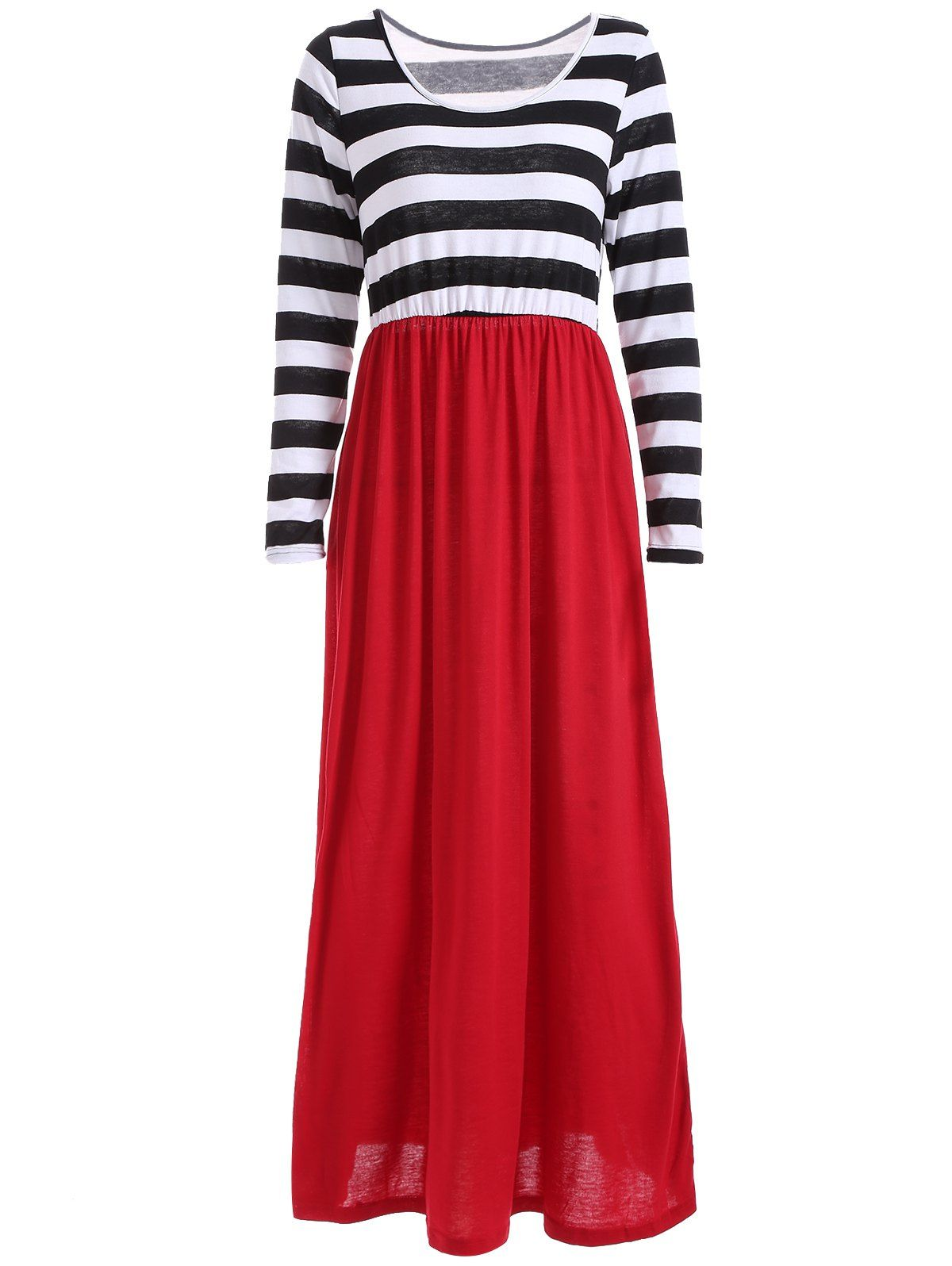 Scoop neck long sleeves striped maxi dress striped maxi striped