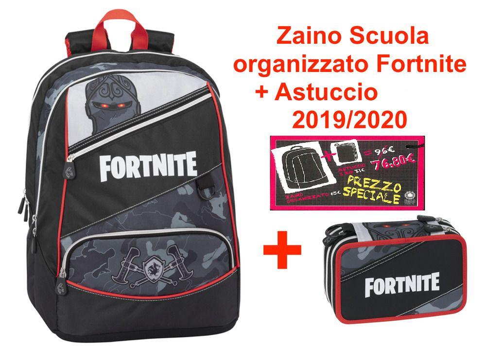 large choix de couleurs et de dessins prix attractif design exquis Zaino Scuola organizzato Fortnite + Astuccio Tre cerniere ...