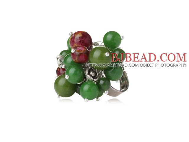 Summer Lovely Style Round Green Jade and Glaze Beads Adjustable Ring-----$3.08
