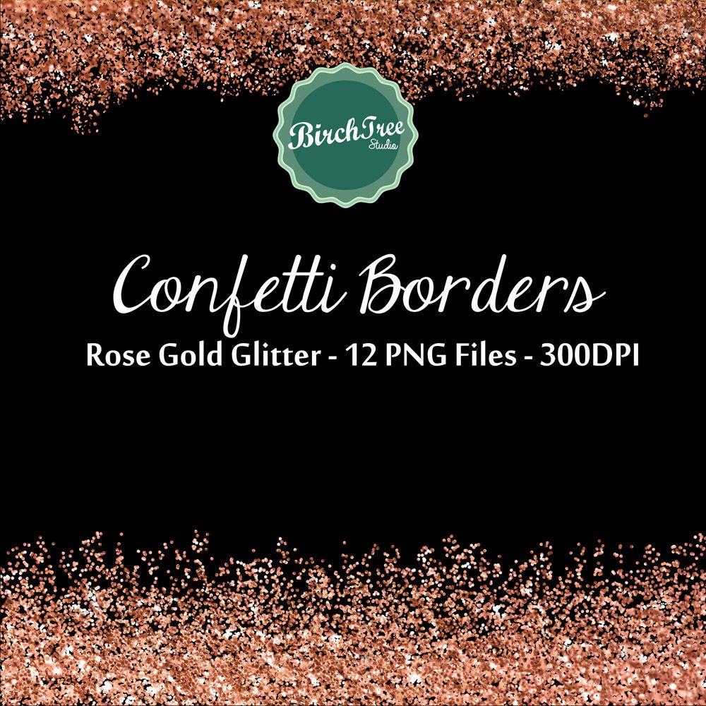 Digital Glitter Borders Confetti Glitter Rose Gold Metallic Etsy Gold Digital Paper Rose Gold Glitter Confetti Clip Art