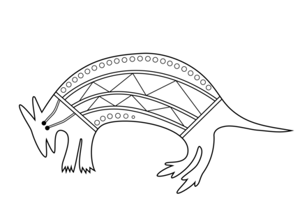 Aboriginal painting of a wallaby Colouring pages for