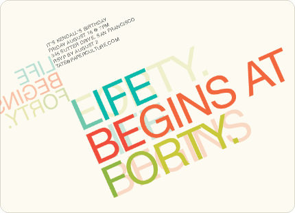 Life Begins At Forty 40th Birthday Invitations