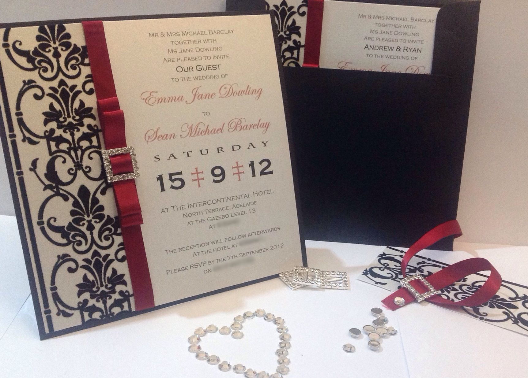 black and white wedding cards pinterest%0A Black  White and Red  Wedding Invitation  Flair Handmade Invitations