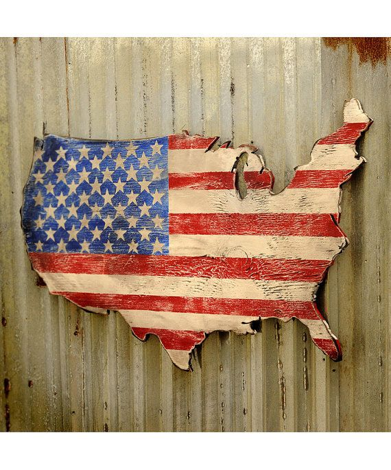 USA Flag Art Large US Map Art Wooden Stars And By SlippinSouthern - Us flag and map